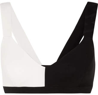 Vaara - Elsa Two-tone Stretch-knit Sports Bra - Black