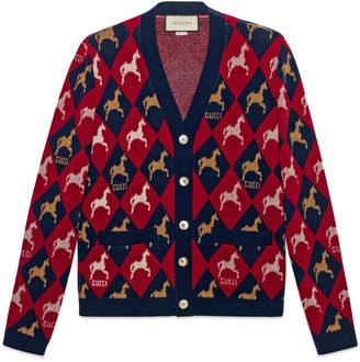 Gucci Equestrian wool jacquard cardigan