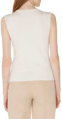 Akris Round-Neck Silk-Stretch Knit Tank Top