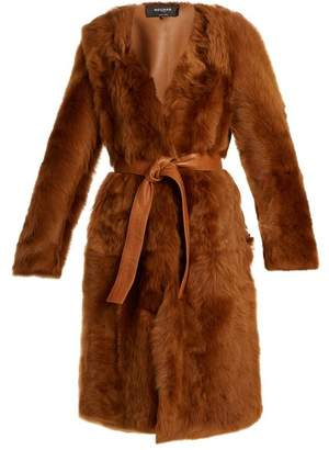 Rochas - Belted Collarless Shearling Coat - Womens - Brown