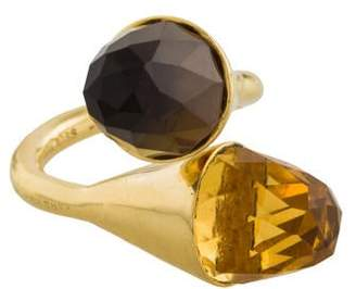 Kara Ross 18K Citrine & Smoky Quartz Medium Clasp Ring