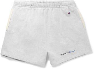 Off-White + Champion Wide-Leg Mélange Loopback Cotton-Blend Jersey Shorts