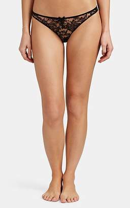 Fleur Du Mal Women's Dot-Flocked Floral Lace Bikini Briefs - Black