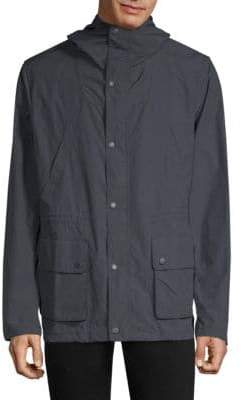 Barbour Men's Cogra Hooded Cotton Jacket - Dark Stone - Size Medium