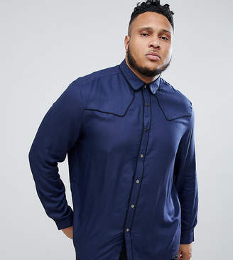 Asos Design DESIGN plus regular fit western viscose shirt in navy with poppers