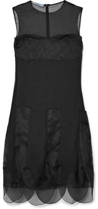 Prada Organza-paneled Silk-georgette Dress