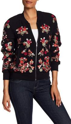 French Connection Gilliam Embroidered Bomber Jacket