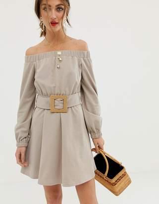 Asos Design DESIGN off shoulder textured mini dress with belt