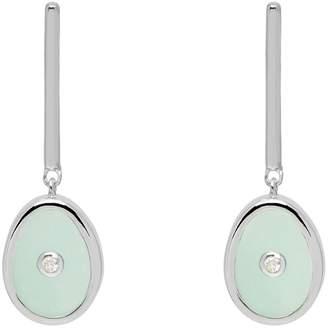 Lola Rose London - Curio Diamond Mini Oval Drop Earrings Aqua Chalcedony