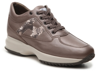 Final Sale - Hogan Leather Lace-Up Sneaker $475 thestylecure.com