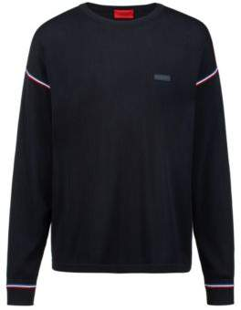 HUGO Boss Oversized-fit sweater in cotton three-color stripes L Dark Blue