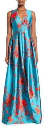 Sachin + Babi Annisa Sleeveless Ball Gown w/ Embroidery