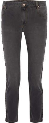 Isabel Marant Ulyff Swarovski Crystal-embellished High-rise Slim-leg Jeans - Dark gray