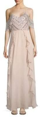 Parker Irene Cold-Shoulder Silk Gown