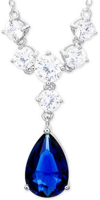 "Giani Bernini Simulated Sapphire Cubic Zirconia 18"" Statement Necklace in Sterling Silver"