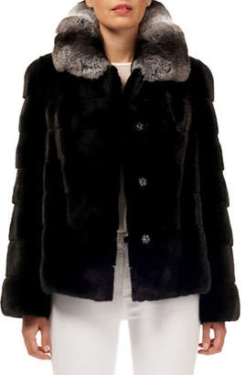 Gorski Horizontal Stripe Mink-Fur Jacket w/ Chinchilla-Fur Collar