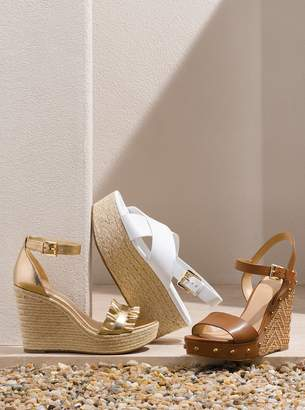 MICHAEL Michael Kors Bella Metallic Ruffled Leather Wedge