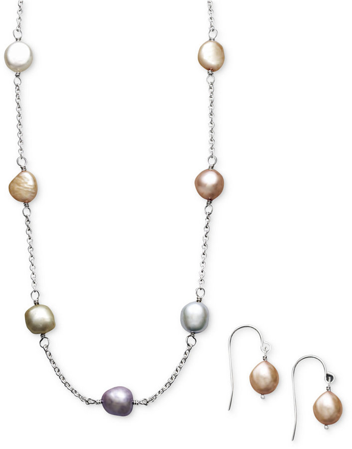 Honora Fresh by Pearl Necklace and Earring Set, Sterling Silver Multicolor Cultured Freshwater Pearl (7mm)