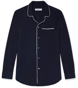 Desmond & Dempsey - Brushed-Cotton Twill Pyjama Shirt - Men - Navy