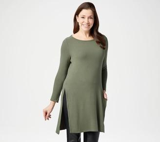 Lisa Rinna Collection Sleek Hacci Knit Tunic Top