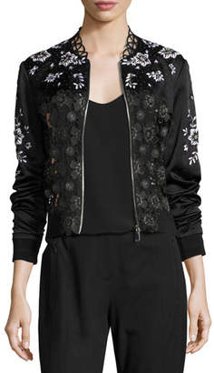 Elie Tahari Brandy Floral Lace Bomber Jacket, Black $498 thestylecure.com