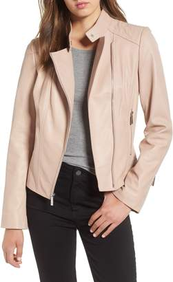 MICHAEL Michael Kors Asymmetrical Zip Leather Moto Jacket