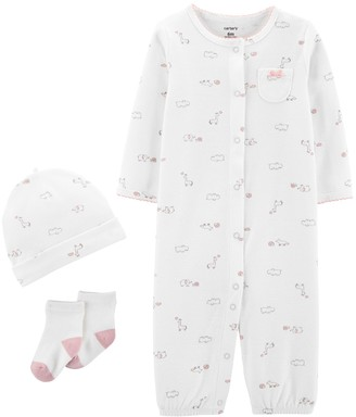 Carter's Baby Girl Take Me Home Jumpsuit/Gown, Hat & Socks Set