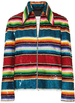Ashish Striped Sequined Cotton Jacket