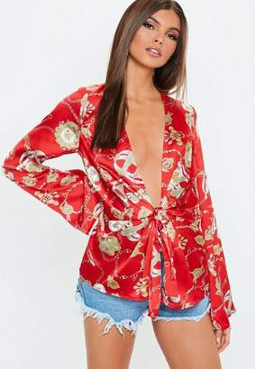 Missguided Red Satin Drape Plunge Blouse
