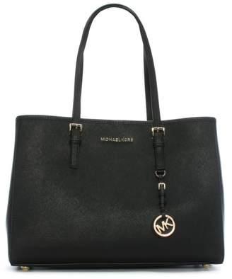 Michael Kors Jet Set Travel Large Black Leather Tote Bag