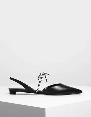 Charles & Keith Black And White Bow Strap Slingback Flats