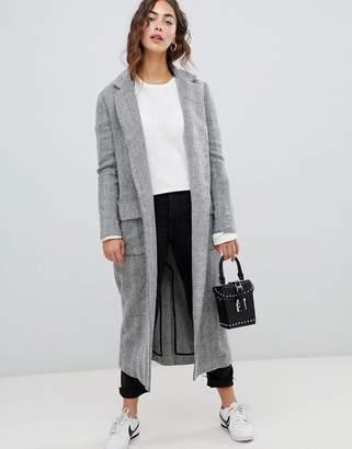 Glamorous longline coat in herringbone
