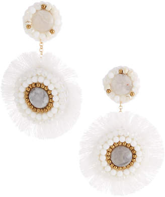 Panacea Agate Fringe Circle Earrings, White