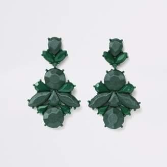 River Island Dark green satin jewel drop earrings