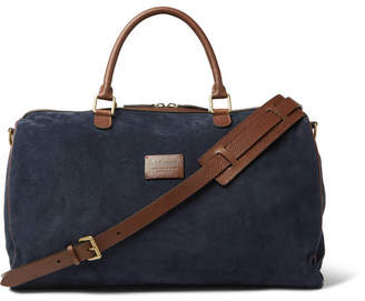 Andersons Anderson's - Suede and Full-Grain Leather Holdall - Men - Navy