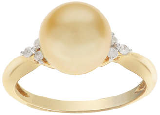 Pearls 14K Diamond & 9-10Mm South Sea Pearl Ring