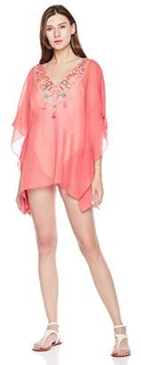 Beautiful Nomad Women's V Neck Beach Cover up Swimwear with Embroidery Tassel