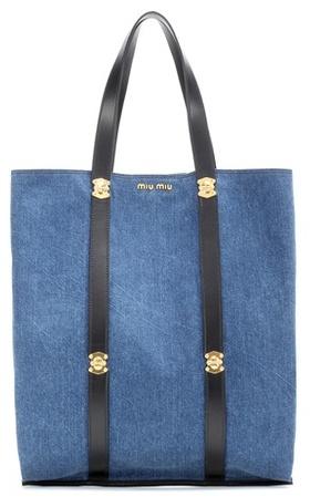 Miu MiuMiu Miu Denim Shopper Bag