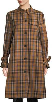 Derek Lam 10 Crosby Plaid Button-Front Long Coat