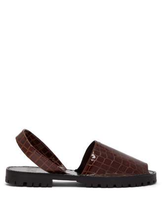 Goya - Crocodile Effect Leather Slingback Sandals - Womens - Brown