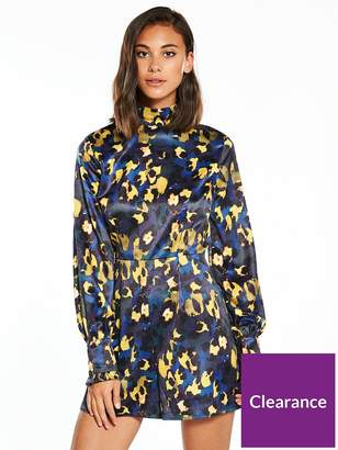 2e534677ea5a at Littlewoods · Lost Ink Printed Satin High Neck Playsuit - Blue