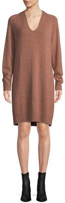 Vince V-Neck Wool-Cashmere Sweater Dress