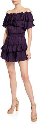 MISA Los Angeles Giada Tiered Ruffle Off-Shoulder Mini Dress