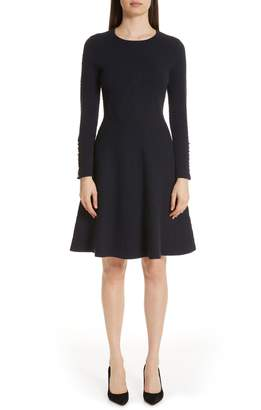 Lela Rose Textured Jacquard Knit Fit & Flare Dress