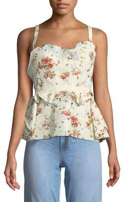 Brock Collection Rose-Print Layered Corset Tank w/ Lace-Up Back