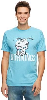 "Licensed Character Men's Peanuts Snoopy ""Mornings"" Tee"