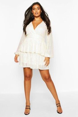 boohoo Plus Sequin Plunge Tiered Skater Dress