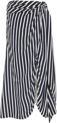 Jonathan Simkhai Multimedia Striped Cupro Midi Wrap Skirt