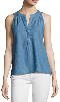 Soft Joie Carley E Sleeveless Chambray Top, Blue $118 thestylecure.com