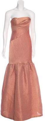 Marchesa Strapless Metallic Evening Gown